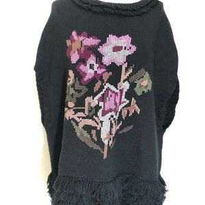 Lulumari black needlepoint poncho sweater